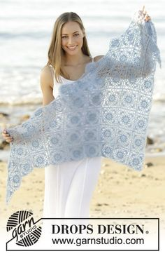 Lisbon Tiles shawl made in granny squares by DROPS Design Free Crochet Pattern