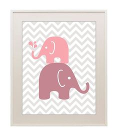 Chevron elephant print, splash, kids wall art, modern nursery, baby girl, wall decor, children's room, custom colors, 11x14 on Etsy, $22.00