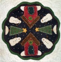 penny rug, winter village