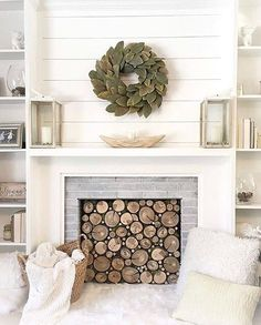 If you are looking for Modern Farmhouse Fireplace Mantel Decor Ideas, You come to the right place. Below are the Modern Farmhouse Fireplace M. Farmhouse Fireplace Mantels, Home Fireplace, Fireplace Design, Fireplace Ideas, Fireplace Modern, Diy Faux Fireplace, Faux Mantle, Small Fireplace, Scandinavian Fireplace