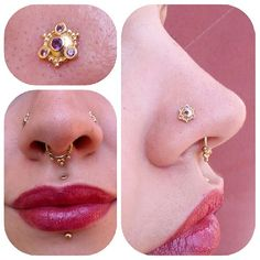 piercings:  both nostrils, septum, medusa, and center labret.  The jewelry is exquisite:  a matched set of yellow gold and amethyst!