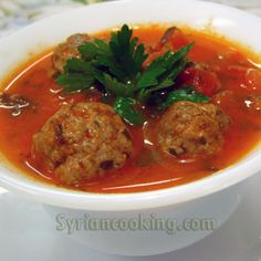 Dawood Basha (Syrian Meatballs) – flavored and cooked in a tomato-herb sauce and served with rice