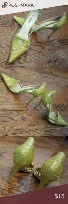 "bebe Snakeskin 4"" high heels these are lime green snake skin 4"" high heels! Fun Party Shoe!! Check out the lace pink bebe ones in my closet and I'll send you both!! Make me an Offer!! bebe Shoes Heels"