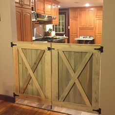Pretty Gate Set with weathered oak stain.