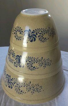 Vintage PYREX Homestead cobalt Blue Nesting Mixing BOWLS Set Of 3 401 402 403  #Pyrex