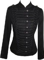 Ladies New Black Victorian Inspired Military Cotton Tailcoat Jacket.