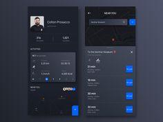 Dribbble - by Rocion App Ui Design, Mobile App Design, Mobile Ui, Web Design, Black App, Car Ui, Sports App, App Design Inspiration, Coloring Apps