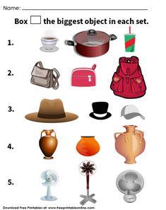 Choose The Biggest Object Worksheet