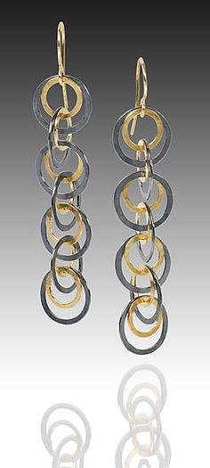 Shadow Earrings by Heather Guidero: Gold & Silver Earrings available at www.artfulhome.com