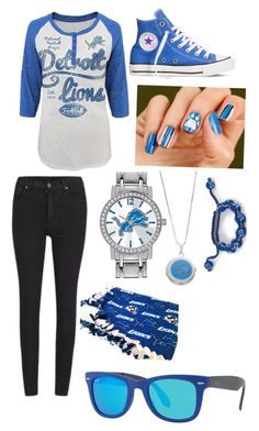 """Let's go to a Lions Game!!"" by elleciaann-marie0530 ❤ liked on Polyvore featuring Cheap Monday, Converse, COVERGIRL, Game Time and Ray-Ban"