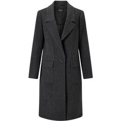 Bruce by Bruce Oldfield 73 NYC Flannel Coat, Charcoal (£199) ❤ liked on Polyvore featuring outerwear, coats, long sleeve coat, flannel coat, trench coat, wrap trench coat and wrap coat