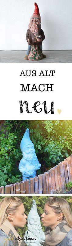 Das neue Highlight in unserem Garten... dieser alte Gartenzwerg erstrahlt nun in neuem Glanz und bringt einfach gute Laune in den Garten!  #Herbst #herbstdeko #diy #doityourself #garten #gartenzwerg #ausaltmachneu #gartendeko #deco #home #dekoration #malen #vintage #türkis #twins #zwillinge #diyblogger #austrianblogger #athome #basteln #kreativ Cool Diy, Alter, Blog, Vintage, Dwarf, Good Mood, Sparkle, Cool Crafts, Blogging