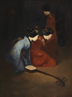 Mortimer Menpes, 1855-1938 Geisha Musicians Oil on board; signed and labelled. 10.25 x 7.5 inches
