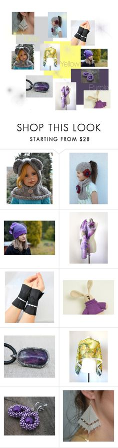 """""""Gray, yellow, purple"""" by lidia-malawska ❤ liked on Polyvore featuring gifts, children and womanfashion"""
