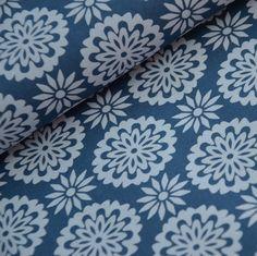 Mandalay cotton in beautiful blue. Beautiful fabric from Stenzo
