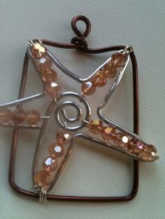 Wire wrapped Starfish with crystals!! $15.00