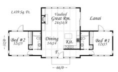 Houseplan #509-31 Modern house with two bedrooms and two bathrooms.