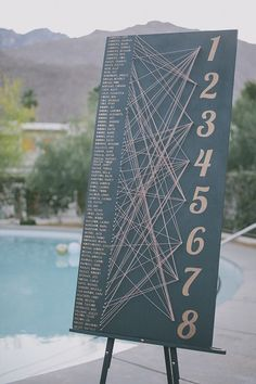 Modern seating chart | Photo by Edyta Szyszlo Photography | Read more - http://www.100layercake.com/blog/?p=78534 #acehotel #palmsprings #wedding