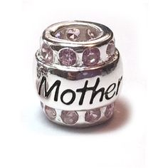 This Biagi European Bead has Mother written on both sides and sparkling light Pink Czs surround the top and bottom. A great gift for Mother's Day! Compatible with other European style bracelets.