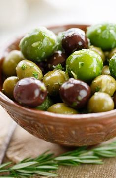 A selection of plump and juicy olives marinated and infused with extra virgin olive oil, white wine vinegar, lemon, rosemary and garlic.