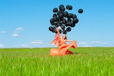 woman with black balloons - Google Search
