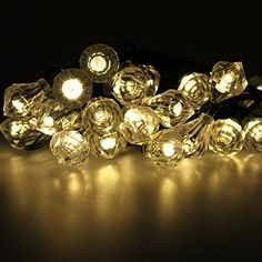 LiteXim Led String Light Waterproof Solar Christmas Lights 19.68ft 6m 30 LED 2 Modes Diamond Solar String Lights for Outdoor, Gardens, Homes, Wedding, Christmas Party(Warm White) ** Check out @