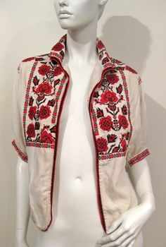 Beautiful VTg Palestinian Linen Bedouin Hand Cross stitched Embroidery top/short jacket