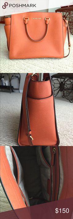 Selma Michael Kors Handbag Large Selma Michael Kors Handbag Orange 16 x 11 x 3 1/2  Very large bag with lots of room Michael Kors Bags Satchels
