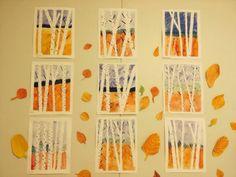 Työskentelyohjeeet: Aluksi teipattiin akvarellipaperin reunat. Puut teippaamalla ohuella maalarinteipillä. Sitten maalattiin peitevärillä taivas, metsä ja etuala. Poistettiin teipit ja lopuksi ohuella siveltimellä, mustalla peitevärillä yksityiskohtia. Lähde: Facebook-Alakoulun aarreaitta (Paula Somero)