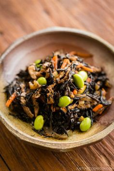 Healthy hijiki seaweed salad cooked in a savory sauce with edamame, aburaage, konnyaku.