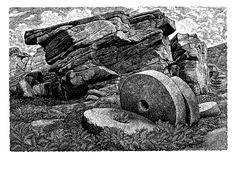 Sue Scullard. Abstracted Millstones at Stanage - The Society of Wood Engravers - KEVIS HOUSE