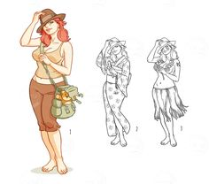 Adventurer girl - like Indiana Jones -with teddy bear (and variants) via tasteminty.com