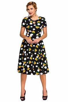Chicloth Keyhole Vintage Swing Dress Dot Floral Print Mode Streetwear, Boho  Dress, Flower Dresses 51ce20ef1b89