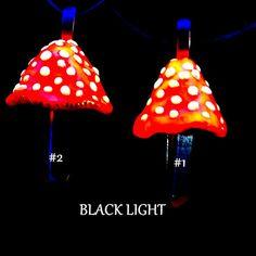 Quartz Crystal Point Amanita Mushroom Necklace  UV by ThePsySpark