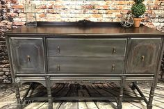 "The ""Denim Buffet"" Using Chalk Paint by Annie Sloan in Graphite with a French Linen Wash, sealed with soft clear wax. Top is stained with General Finishes Gel Stain in ""Java""."
