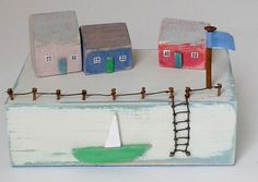 Harbour Scene using upcycled wood custom orders welcome £35  made by Lynda Marwood for Kittiwake Design