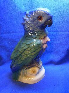 Vintage German Porcelain Perfume Lamp Night Light Parrot Bird #T
