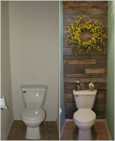 Different type of wall background [tile], but colorful wreath with shelf above toilet