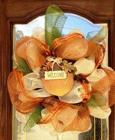 Mesh Fall Door Wreath by PinkTulipOfDaphne on Etsy