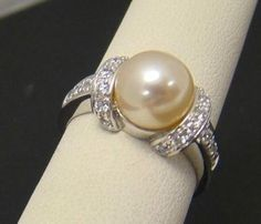 EPIPHANY-925-STERLING-SILVER-RING-SIZE-6-5-CULTURED-PEARL-PEACH-8-5mm-CZ-ACCENTS