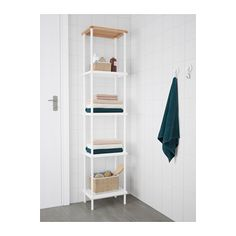 DYNAN Shelf unit, white, bamboo pattern white/bamboo pattern 15 3/4x10 5/8x69 1/4