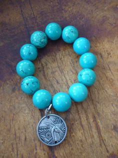Turquoise Large Bead Bracelet with French Franc Charm by ElliTs