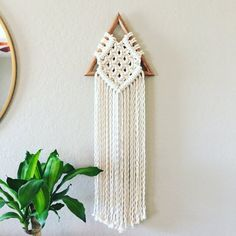 This geometric macrame wall hanging is set on our handmade wood frame with high quality 100% 3 strand cotton rope. ~ approximately 34 inches long