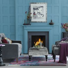 Teal blue living room and all grey furniture