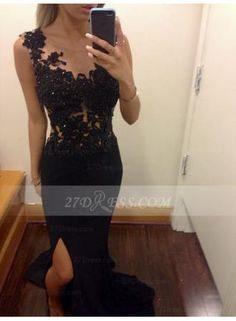 USD$179.00 - 2015 Sexy Black Evening Dresses Scoop Sleeveless Appliques Sequins Mermaid Side Slit See Through Sweep Train Prom Gowns - www.27Dress.com