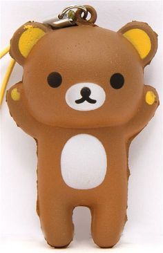 brown Rilakkuma bear squishy cellphone charm kawaii