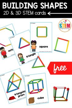These building 2D and 3D shape STEM cards are the perfect addition to every classroom math centers or STEM bins! Kids will love building shapes with popsicles, straws, playdough and countless other household materials! #STEM #challengecards #buildingshapes Printable Alphabet Worksheets, Printable Shapes, Shapes Worksheets, Printables, Stem Classes, Math Stem, Stem For Kids, Stem Learning, Mega Pack