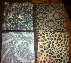 Custom coasters: Plain 4x4 tiles from Home Depot  Modge podge scrapbook paper on Spray clear spray paint to coat Paint edges (optional)