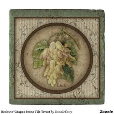 Redoute' Grapes Stone Tile Trivet in my Zazzle store by Carrie Knoff