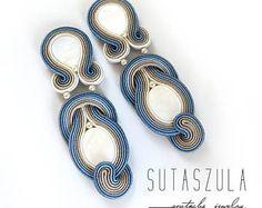 Gran jeans azul clip en pendientes soutache cuelgan y soltar pendientes grandes beige azul pendientes de araña